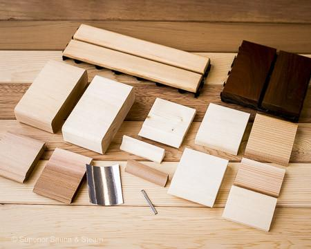 Sauna Wood Samples