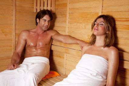 Couple enjoying sauna experience