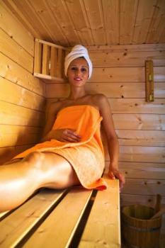 Girl in Home Infrared Sauna