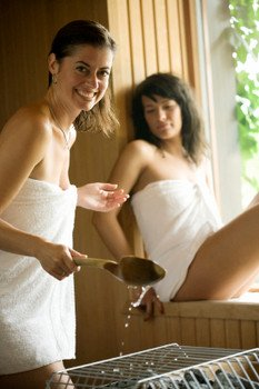 Girl in Home Sauna