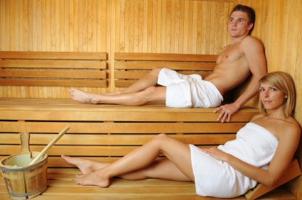 Man and woman in a traditional sauna