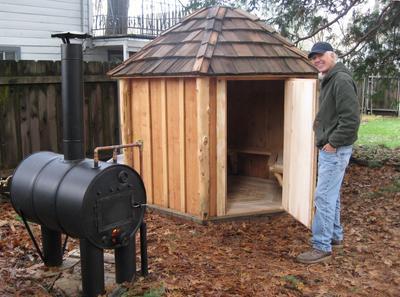 Six sided home built wood fired cedar steam sauna for Wood fired sauna plans